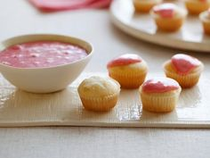 Get Giada De Laurentiis's Mascarpone Mini Cupcakes with Strawberry Glaze Recipe from Food Network