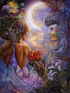 Masque of Love, Josephine Wall. Having danced the night away she can pretend no more.  Struck by Cupids arrow she coyly comes out from behind her mask of peacock feathers to reveal herself for the first time to her masked partner.  Having only been able to look into each others eyes ( the windows of the soul ) she knows their feelings for each other are true, and uncomplicated by physical appearance.  How can she resist when surrounded by the hypnotic perfume of love.