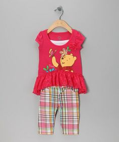 Take a look at this Disney Coral Pooh Ruffle Tunic & Plaid Pants - Infant by Disney on #zulily today!