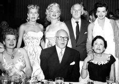 Betty Grable, Marilyn Monroe, Walter Winchell, Jane Russell, Lucille Ball, Jimmy McHugh, and Louella Parsons at Walter Winchell's Birthday Party at Ciro's May 13, 1953