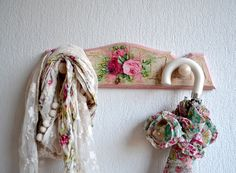 Decoupage wooden coat shabby chic hanger