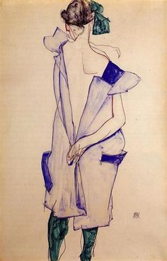 Standing Girl in a Blue Dress and Green Stockings, Back View - Шиле Эгон - WikiArt.org - энциклопедия искусства - WikiArt.org - энциклопедия искусства