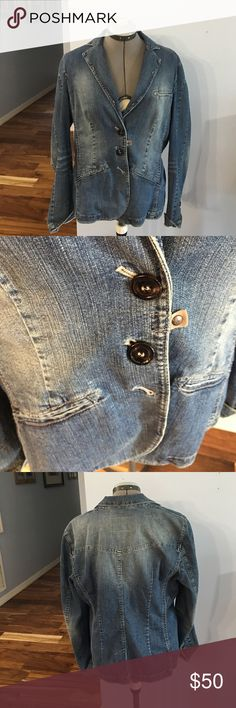 Marc Cain Jean blazer Good condition no tears or stains missing last button see picture Marc Cain Jackets & Coats