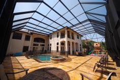 Two story pool enclosure Pool Screen Enclosure, Screen Enclosures, Pool Enclosures, Pool Remodel, Backyard, Patio, Heated Pool, Pool Decks, Cool Pools