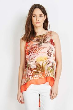 Petite Coral Printed Overlay Top