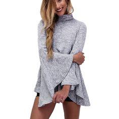 2016 Feminina Novo Estilo de Moda Malha de Algodão Camisas Longas Mulheres…