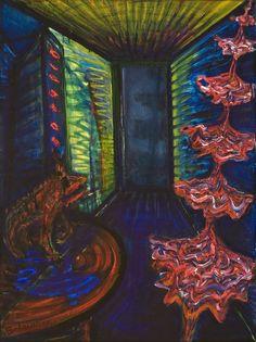 El Kazovszkij: Emeletes táncosnő 2./ Emeletes koppélia | Double-Storey Dancer / Double Storey Coppélia - 1988 - 80x60 cm - olaj, farost | oil on wallboard Art History, Painting, Painting Art, Paint, Draw, Paintings