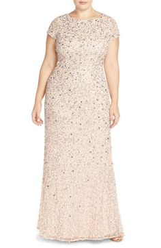 Free shipping and returns on Adrianna Papell Embellished Scoop Back Gown (Plus Size) at Nordstrom.com. Swirls of metallic sequins and paillettes light up the short-sleeve bodice and cascading skirt of a lustrous mesh gown featuring a scooped back and floor-sweeping train for a lasting final impression.