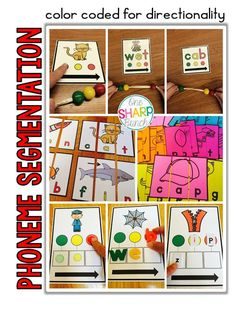 Phoneme segmentation & blending made easy with these tips and tricks for small group instruction! Check out One Sharp Bunch's color coded trick for teaching directionality and segmenting! Phonemic Awareness Activities, Phonological Awareness, Phonics Activities, Group Activities, Reading Activities, Educational Activities, Star Mobile, Kindergarten Blogs, Kindergarten Reading