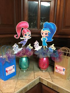 Shimmer and shine party bags and center pieces