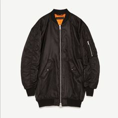 Zara Black Oversized Parka Jacket