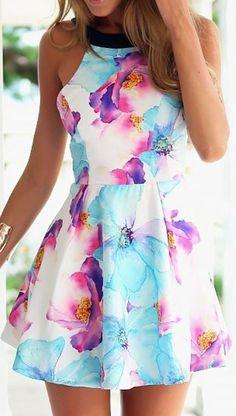 Multicolor Floral Pattern Skater Dress