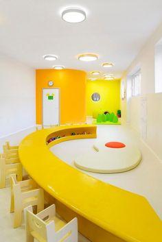 Massimo Adiansi: Nursery and pre-school - Architecture - Domus Daycare Design, Classroom Design, School Design, Classroom Ideas, Kindergarten Interior, Kindergarten Design, School Furniture, Kids Furniture, Bedroom Furniture