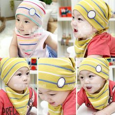 m6762 infants'/todders'hats | Warm Infant Baby Stripes Soft Cotton Hat Cap+Triangle Bib Saliva Towel ...