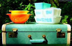 My newest Pyrex finds, plus a nifty vintage suitcase.