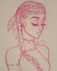 Native American, cute, simple drawing from Christina Lorre tattoo girl drawing Pretty Drawings, Amazing Drawings, Art Drawings Sketches, Cartoon Drawings, Easy Drawings, Art Sketches, Girl Drawings, Pencil Drawings, Simple Cute Drawings