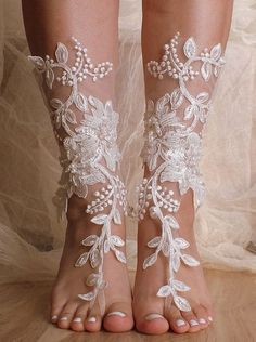 Unique Lace Ivory Beach Wedding Barefoot Sandals