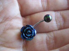 Metallic Rainbow Rose Belly Button Jewelry Ring- Navel Piercing Stud Black Bar Barbell