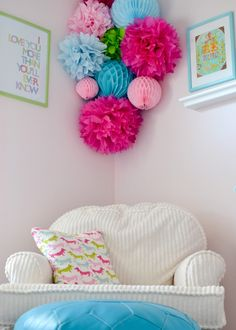 Bold Tissue Poms in Girl's Pink Nursery - Project Nursery