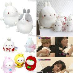 Molang Soft Cushion Cotton Plush Doll Bedding Pillow Decor Cute Toy Drama K Pop | eBay