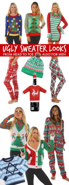 Be hot, hip and hilarious with these Ugly Christmas Sweater Party Looks from head to toe! Fun accessories too!
