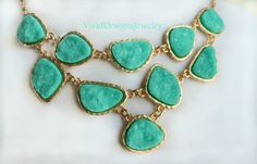 Turquoise Statement Necklace  Mint Layered by VividDesignsJewelry, $39.00
