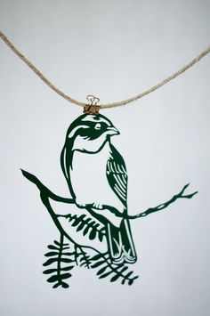 Handmade Papercut Painted Bunting Bird Cut by FlyingPaperAirplane, $48.00