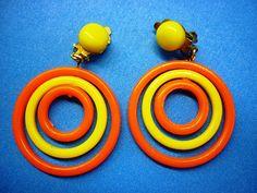 1960s Vintage Mod Plastic Dangle Clip Earrings by VintagePickle, $12.00
