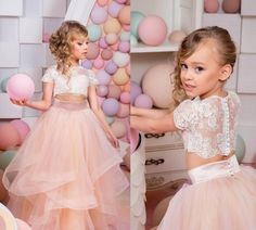 ==> [Free Shipping] Buy Best Special Two Pieces Flower Girl Dresses Lace Top And Tulle Tiered Skirts Graduation Gowns Children Blush Pink Custom Made Online with LOWEST Price | 32800645572