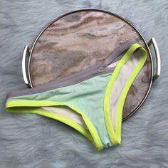 Victoria's Secret Medium The Cheeky Bikini Bottom Teal Gray Colorblock     eBay