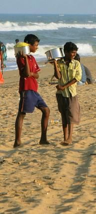 Thenga manga pattani sundal is a popular sight at Chennai's beaches.