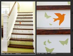 Grass Wall Decal with Birds and Butterflies by JaneyMacWalls