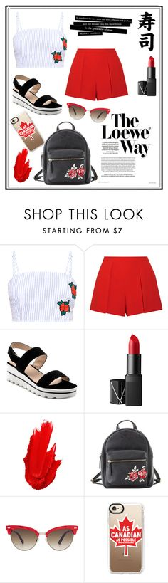 """""""#Red#Blue#Black#White#Roses"""" by whitney555 ❤ liked on Polyvore featuring Alice + Olivia, Loewe, NARS Cosmetics, Maybelline, Charlotte Russe, Gucci and Casetify"""