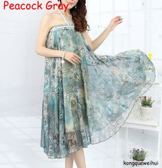 Hot New 19 Patterns Peacock Feather Fake Silk Elastic Waist Big Bottom Printed Bohemia Skirt Women Full Long Chiffon Skirt