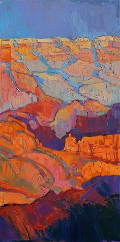 Grand Canyon sunset oil painting on triptych canvases, by artist Erin Hanson