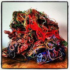 RARE Wool Thread Scrap for Carding - 4 ounces by Neauveau Fiber Art and Handspun Yarn Shop