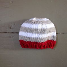 Knit Baby Boy Hat cotton striped light gray and by sweetbabydolly, $14.00