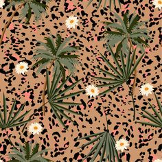 Seamless Animal Prints Pattern With Tropical Plants And Leopard Prints. Vector Photo, Tropical Plants, Spring Flowers, Flower Prints, Floral, Print Patterns, Illustration, Plant Leaves, Animal Prints