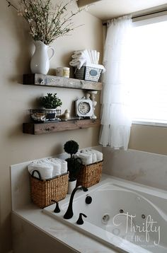 """DIY Floating Shelves and Bathroom Update Great way to deal With that weird space! """"DIY Floating Shelves just like the ones from Fixer Upper! Make 2 of these for…"""" The post DIY Floating Shelves and Bathroom Update appeared first on Welcome! Diy Casa, Floating Shelves Diy, Glass Shelves, Floating Cabinets, Shelves Above Toilet, Rustic Shelves, Floating Vanity, Cheap Home Decor, Home Decor Ideas"""