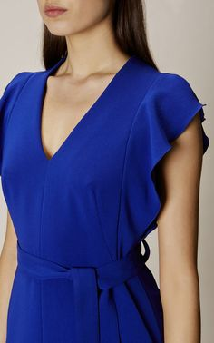 Karen Millen, FRILL WING DRESS Blue