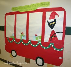 Pete the Cat Christmas Bulletin Board make yellow bus put kids pics in windows for back to school..hall decoration for holiday decorating