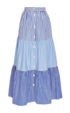 Rendered in cotton, this **MDS Stripe** skirt features a gathered waist, three tiers in contrasting stripe prints, and button fastenings down the front.