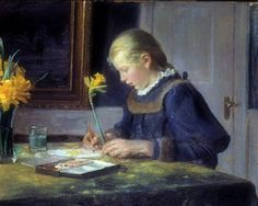 """Helga Ancher Painting Daffodils"" by her father Michael Peter Ancher, famous Danish impressionist artist, 1849-1927"