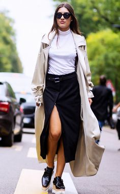 Balanced slit skirt with thin turtle neck and a silky trench coat.