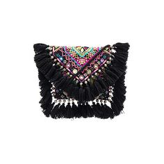 SHASHI Tatiana Clutch (€52) ❤ liked on Polyvore featuring bags, handbags, clutches, tassel handbags, beaded clutches, hand bags, shoulder strap purses and flap purse