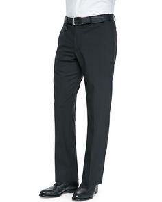 Benson Lightweight Wool Trousers, Black - Incotex