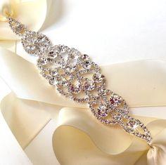 Wedding Dress Sash Encrusted with Crystals, Bridal Belt Sash - Custom Satin Ribbon - Silver and Rhinestone Wide Wedding Belt. $47.00, via Etsy.