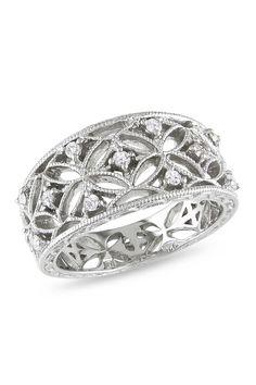 Diamond & Sterling Silver Cutout Ring.