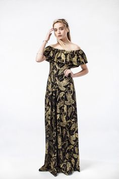 'Birds of Prey' Flutter Top Maxi Dress
