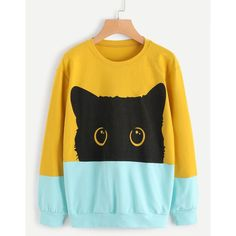 SheIn(sheinside) Cat Head Print Color Block Sweatshirt ($16) ❤ liked on Polyvore featuring tops, hoodies, sweatshirts, multicolor, sports sweatshirts, long sleeve sweatshirts, sports pullovers, yellow sweatshirt and yellow top